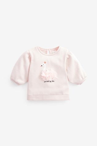 Pink Sparkle Swan Puff Sleeve Top (3mths-7yrs)