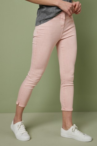 Pale Pink Yoke Front Skinny Cropped Jeans