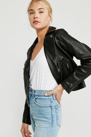 Abercrombie & Fitch Black Leather Moto Jacket
