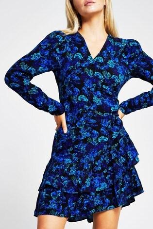 River Island Blue Floral Frill Asymmetric Tea Mini Skirt