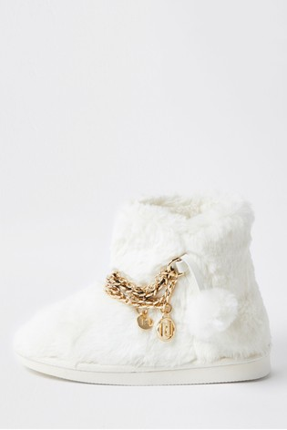 River Island White Fur Chain Bootie Slippers