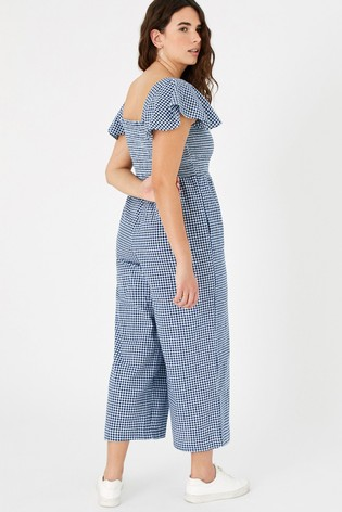 Accessorize Gingham Print Smocked Jumpsuit