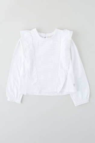 Angel & Rocket White Frilled Top