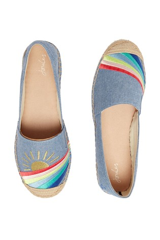 Joules Blue Shelbury Espadrilles With Embroided Details