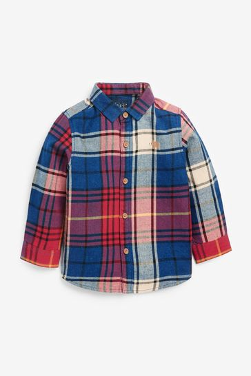 Red/Navy Blue Check Long Sleeve Shirt (3mths-7yrs)