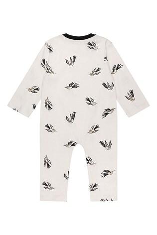 Turtledove London Ecru Hummingbird Organic Cotton Sleepsuit