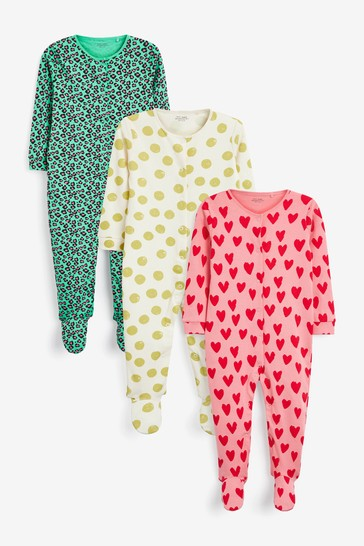 Bright Prints 3 Pack Sleepsuits (0-2yrs)