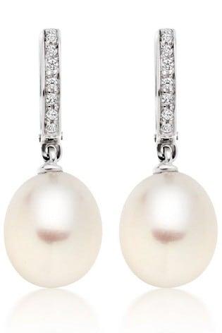 Beaverbrooks 9ct White Gold Pearl Cubic Zirconia Drop Earrings