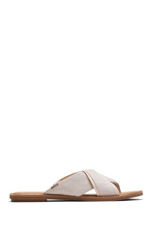 TOMS Natural Shimmer Canvas Viviana Sandals