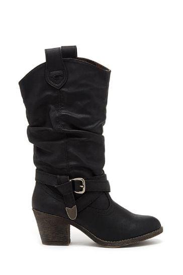 Rocket Dog Black Sidestep Mid Calf Western Boots