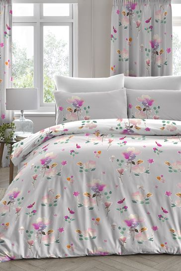 D&D Exclusive To Next Grey Jessica Floral Duvet Cover and Pillowcase Set