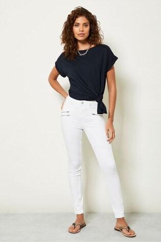 Mint Velvet White Denver Off-White Biker Jeans