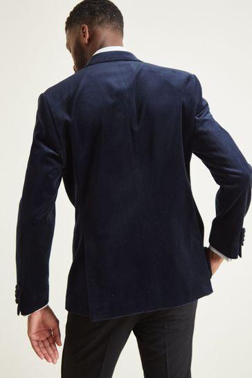 Moss 1851 Tailored Fit Blue Velvet Dress Jacket
