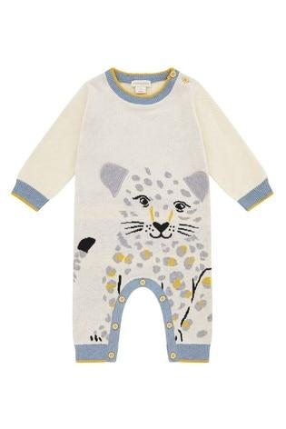 Monsoon Leopard Knitted Organic Sleepsuit