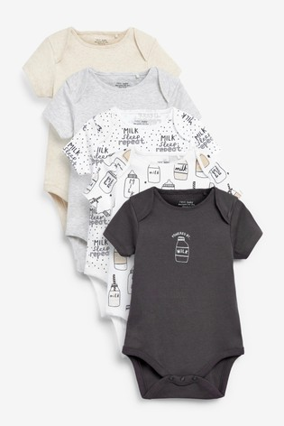 Monochrome Milk 5 Pack Slogan Short Sleeve Bodysuits (0mths-3yrs)