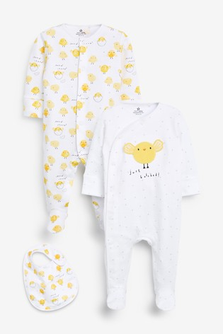 Yellow 2 Pack Easter Chick Sleepsuit And Bib Set (0-12mths)