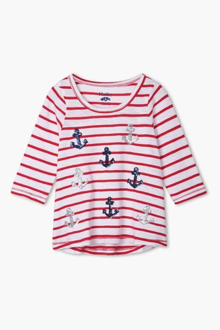 Hatley Red Nautical Anchors Long Sleeve T-Shirt