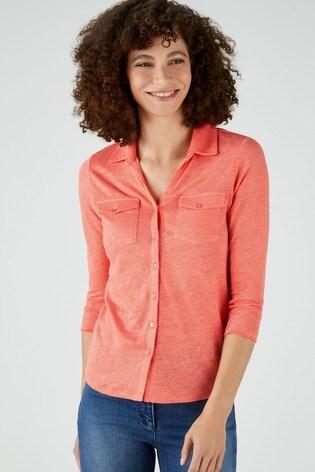 Pure Collection Orange Luxury Linen Jersey Shirt