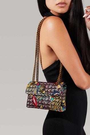Kurt Geiger London Pink Tweed Mini Kensington Bag
