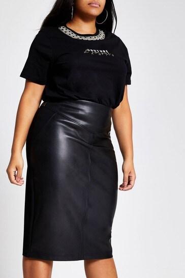 River Island Black Ponte Hybrid Pencil Skirt