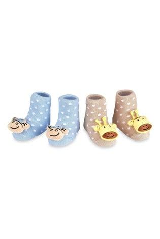 aden + anais Blue Monkey And Giraffe Rattle Socks Two Pack Gift Set