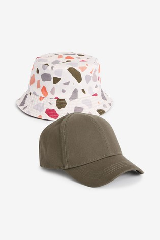 Khaki/Cream 2 Piece Cap And Bucket Hat Set (3mths-10yrs)
