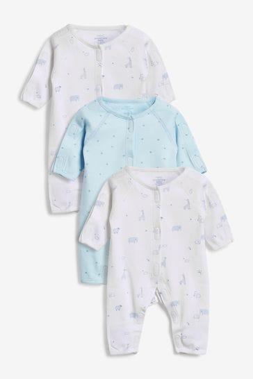 Blue 3 Pack Premature Sleepsuits (0-0mths)