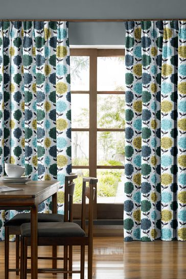 Hydrangea Jade Green Made To Measure Curtains by Orla Kiely