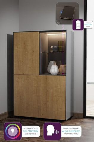 Frank Olsen Smart LED Grey and Oak Display Cabinet
