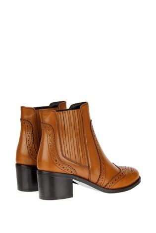 Monsoon Tan Brogue Leather Boots