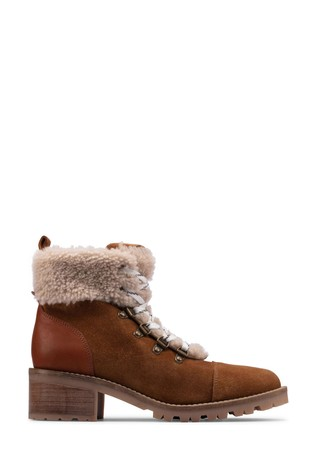Clarks Dark Tan Suede Roseleigh Sky Boots