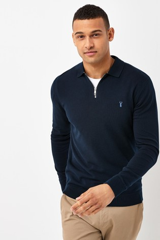 Navy With Stag Embroidery Knitted Zip Neck Polo Shirt