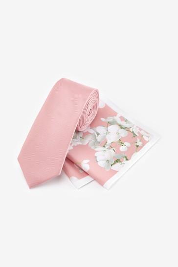Pink Floral Slim Tie And Pocket Square Set