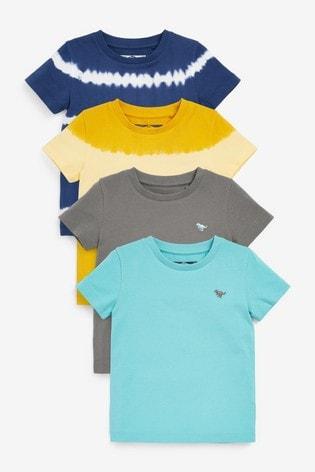 Blue/Yellow 4 Pack Tie Dye T-Shirts (3mths-7yrs)