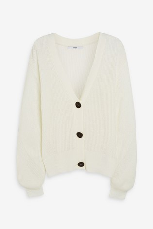 Ecru Volume Sleeve Cardigan