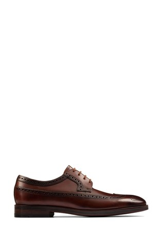 Clarks Dark Tan Lea Oliver Wing Shoes