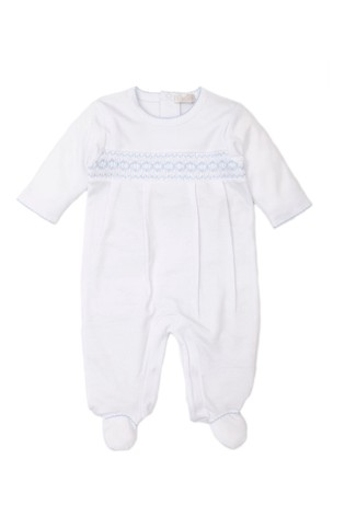 Kissy Kissy White With Blue Smocking Babygrow