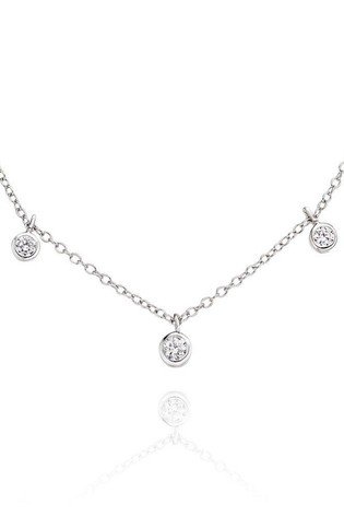 Beaverbrooks Silver Cubic Zirconia Choker Necklace