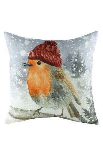 Evans Lichfield White Snowy Robin Linen Blend Cushion