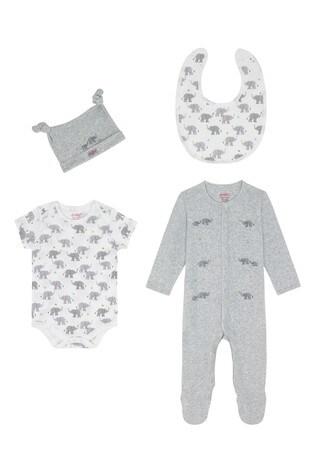 Cath Kidston® Blue Small Elephants Sleepsuit Four Pack Baby Starter Set