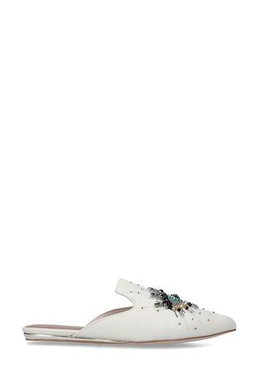 Kurt Geiger London White Olive Eye Slip-On Flat Shoes