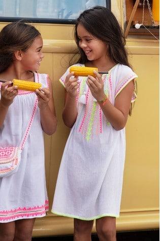 Sunuva White Embroidered Cheesecloth Dress
