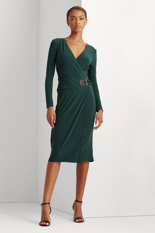 Lauren Ralph Lauren® Pine Green Stretch Wrap Nettie Dress