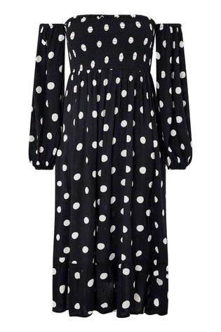 Accessorize Black Puff Sleeve Midi Spot Print Dress