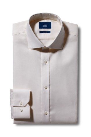Moss 1851 Tailored Fit Cream Single Cuff Non-Iron Shirt