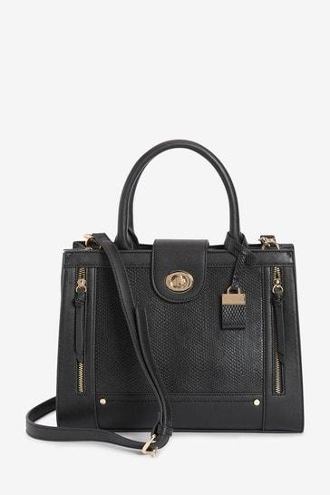 Black Gold Tone Hardware Tote Bag