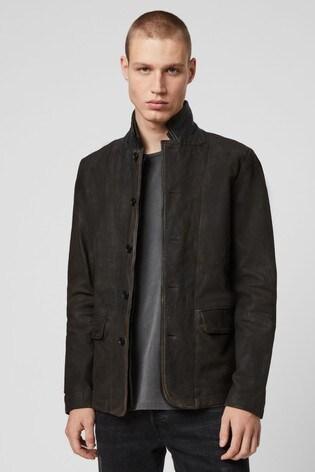 AllSaints Grey 2 in 1 Leather Jacket