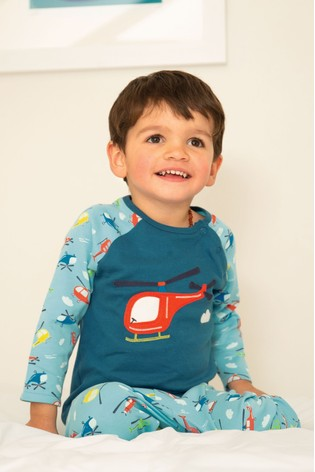 Frugi Organic Cotton Pyjamas With Helicopter Appliqué Top And Printed Bottoms