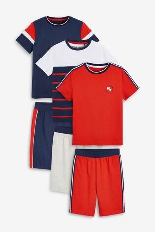Red/White/Navy 3 Pack Short Pyjamas (3-16yrs)