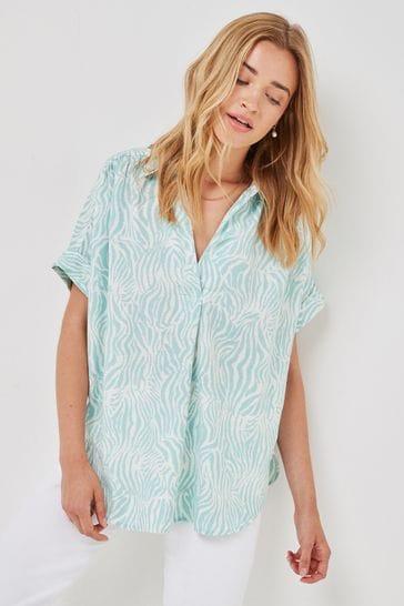 Aqua Zebra Short Sleeve Overhead Shirt